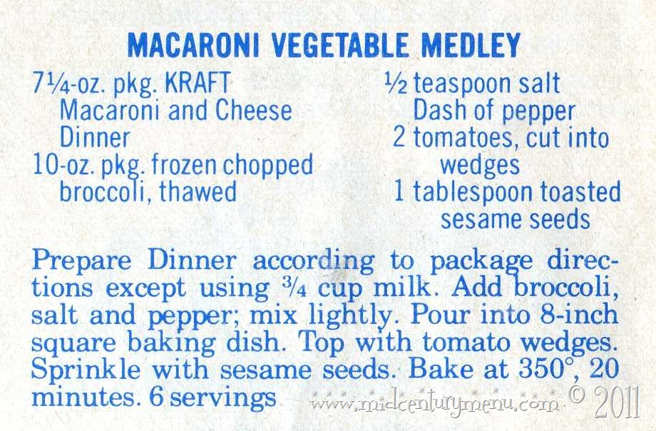 Kraft's Macaroni Vegetable Medley
