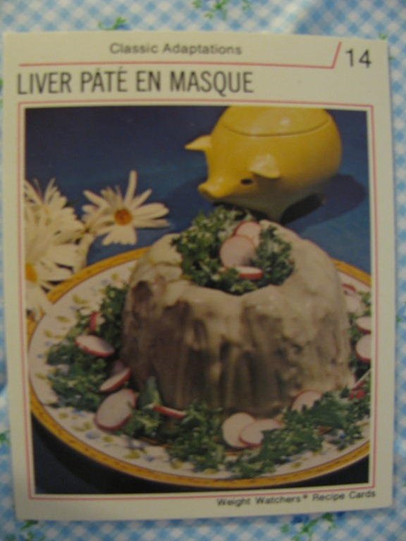 Liver pate en masque a retro gelatin dare the mid century menu 14 classic adaptations 1974 weight watchers recipe cards 2 envelopes unflavored gelatin 1 cup hot bouillon 1 pound cooked liver cut up forumfinder Images