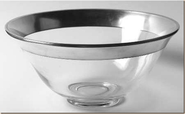 dorothy thorpe v shape salad bowl silver trim band