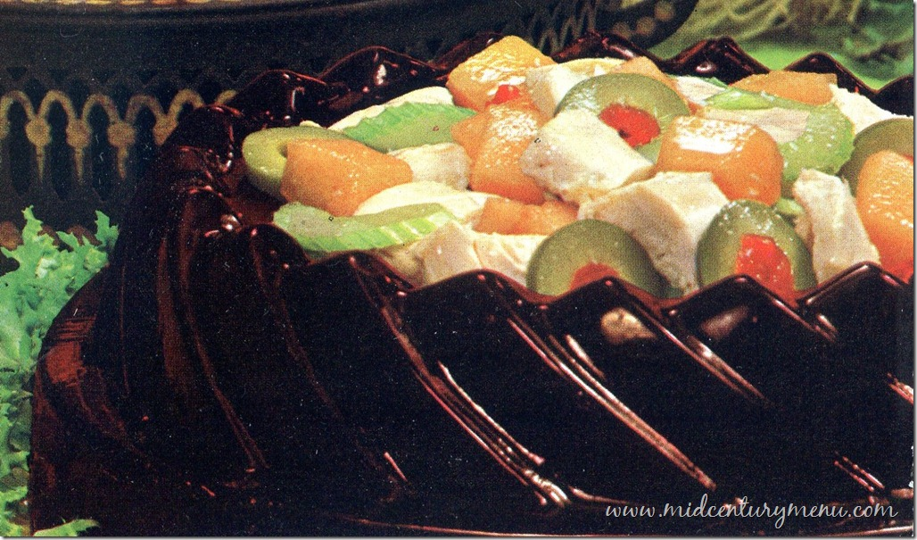 Chicken Peach Salad in A Grape Juice Ring – 1968