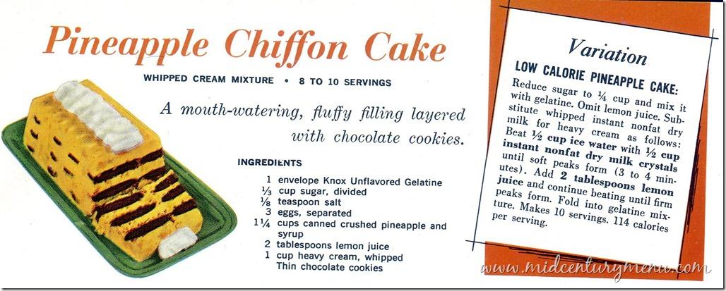 Pineapple Chiffon Cake – 1963