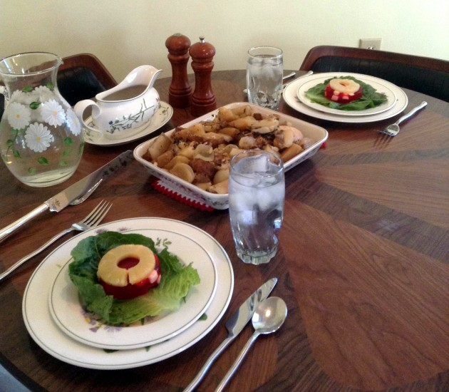 """Slow Cooker Greek Dinner with Tropic Sunset Salad as a starter. I feel like """"Betty Draper: The Good Years""""!"""