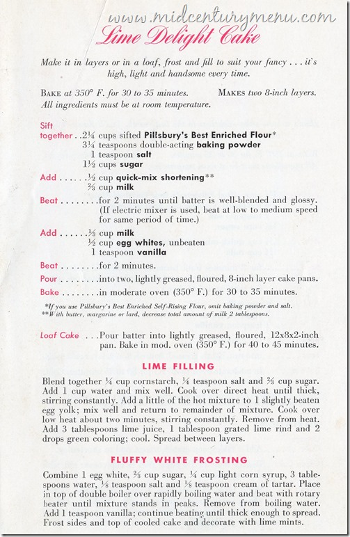 Lime Delight Cake Baking Is Fun by Ann Pillsbury 1945001