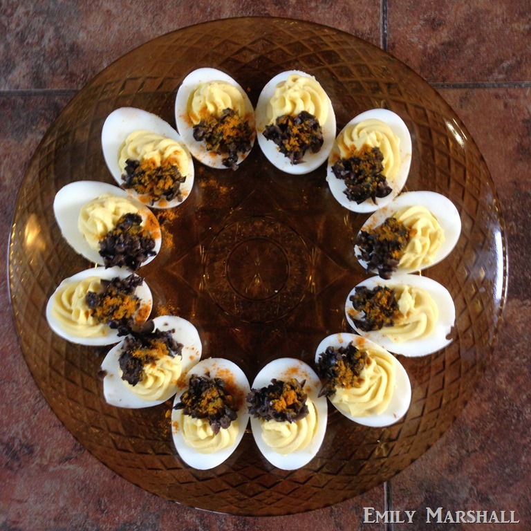... the Episode 2 post. These are covered with black olives and turmeric