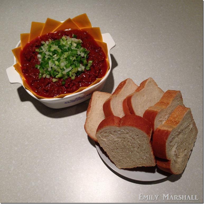 chili and bread