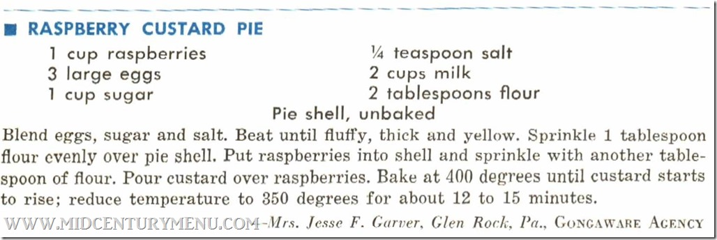 Rasberry Custard Pie  Favorite Recipes Lutheran Brotherhood