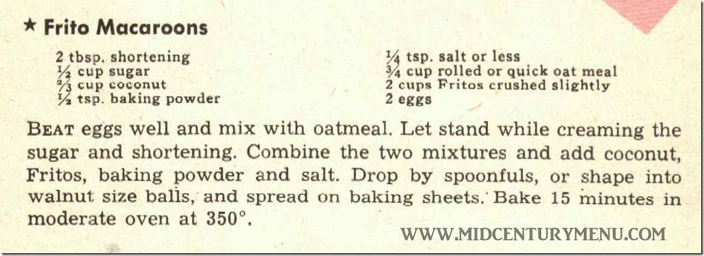 Frito Macaroons - Recipes and Menus For All Occassions, Fritos, 1947