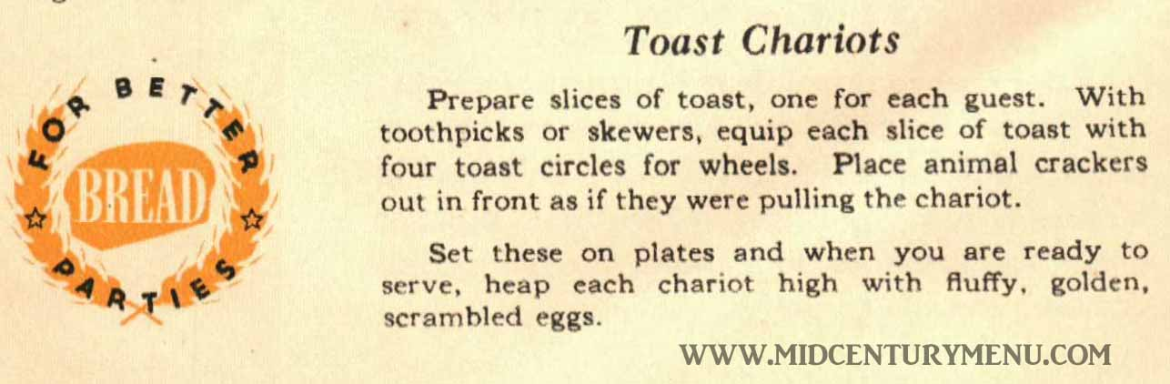 Toast Chariots - From What Kind of Party Shall I Give, Wolf's Extra Fine Bread, 1939