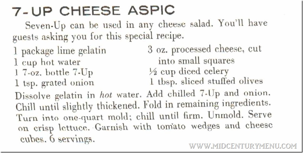 7-Up Cheese Aspic Youre Really Cooking When Your Cooking With 7-Up 1957